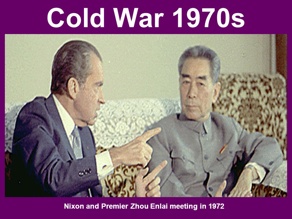 Cold War 1970s Nixon and Premier Zhou Enlai meeting in 1972
