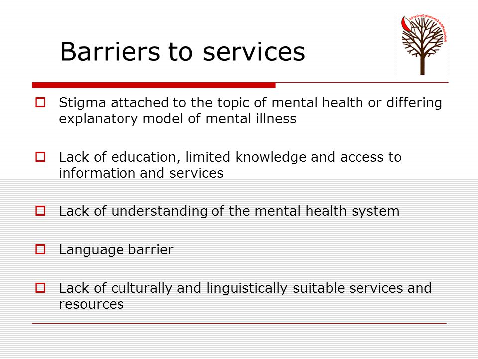 Barriers to services  Stigma attached to the topic of mental health or differing explanatory model of mental illness  Lack of education, limited knowledge and access to information and services  Lack of understanding of the mental health system  Language barrier  Lack of culturally and linguistically suitable services and resources