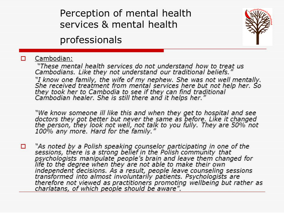 Perception of mental health services & mental health professionals  Cambodian: These mental health services do not understand how to treat us Cambodians.