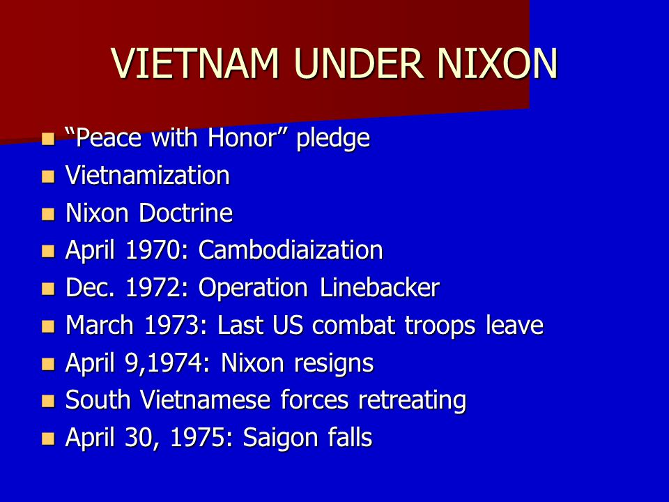 NIXON DOCTRINE Nixon's Silent Majority Speech In Korea and again in Vietnam, the United States furnished most of the money, most of the arms, and most of the men to help the people of those countries defend their freedom against Communist aggression.