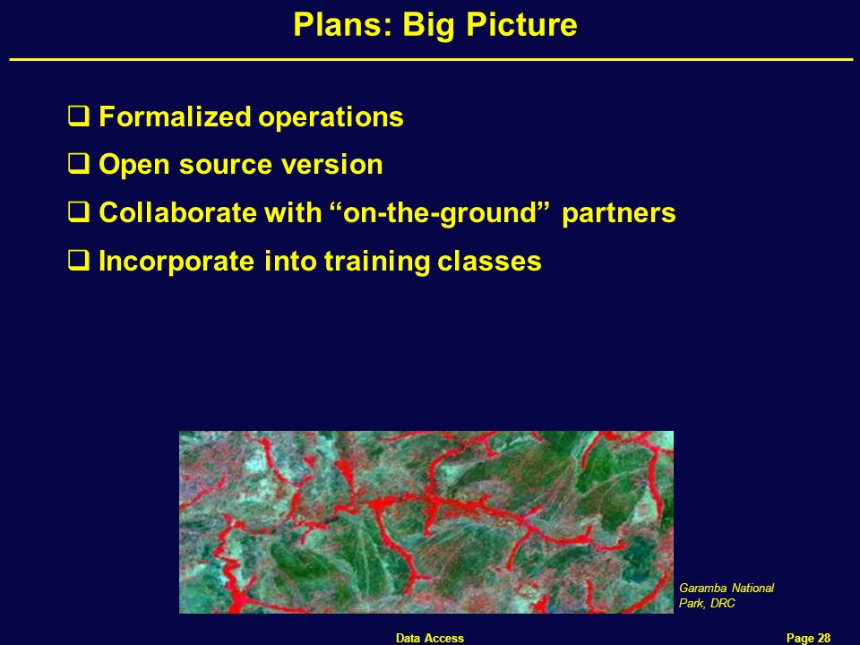 Data Access Page 28 Plans: Big Picture  Formalized operations  Open source version  Collaborate with on-the-ground partners  Incorporate into training classes Garamba National Park, DRC
