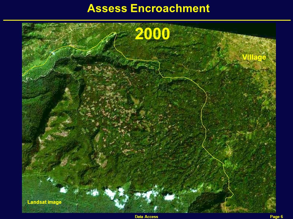 Data Access Page 6 Assess Encroachment Landsat image Village 2000