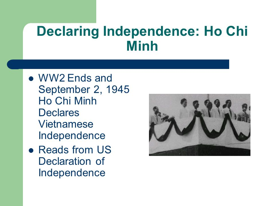 Declaring Independence: Ho Chi Minh WW2 Ends and September 2, 1945 Ho Chi Minh Declares Vietnamese Independence Reads from US Declaration of Independence