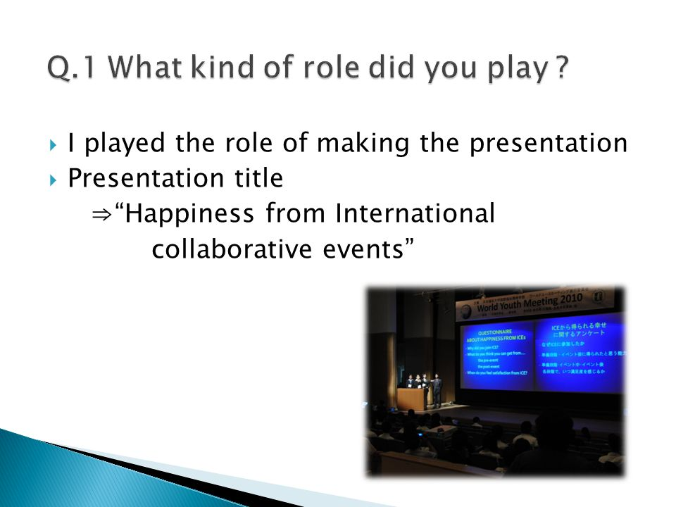  I played the role of making the presentation  Presentation title ⇒ Happiness from International collaborative events