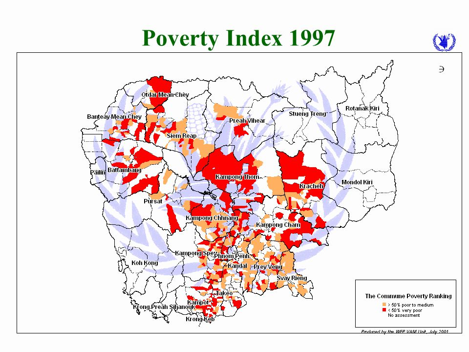 """1997 Poverty Analysis Based on 27 indicators from a 2,751 village survey in pre-selected 550 """"poor"""" communes. Lower then 50 score indicators commune i"""