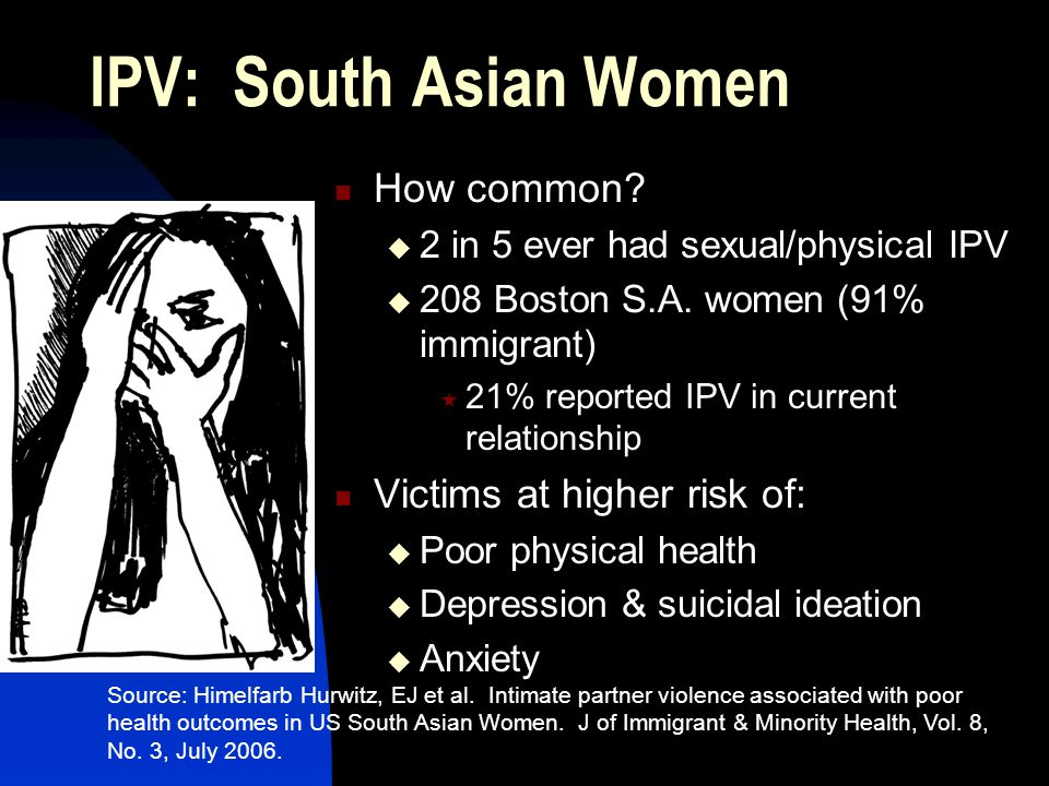 IPV: South Asian Women How common.  2 in 5 ever had sexual/physical IPV  208 Boston S.A.