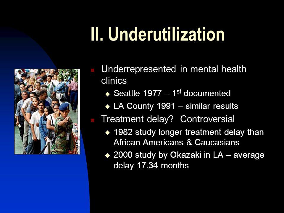 II. Underutilization Underrepresented in mental health clinics  Seattle 1977 – 1 st documented  LA County 1991 – similar results Treatment delay? Co
