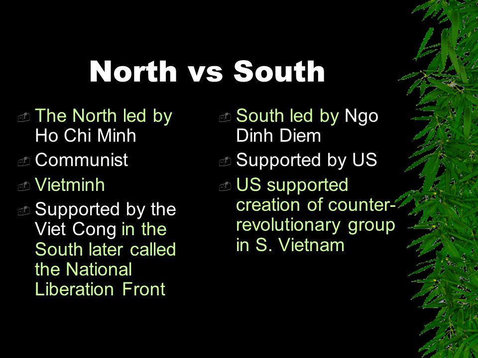 North vs South  The North led by Ho Chi Minh  Communist  Vietminh  Supported by the Viet Cong in the South later called the National Liberation Front  South led by Ngo Dinh Diem  Supported by US  US supported creation of counter- revolutionary group in S.