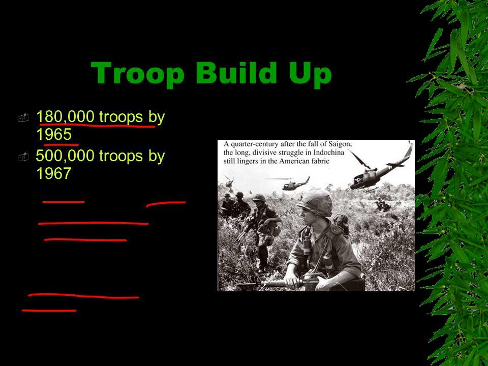 Troop Build Up  180,000 troops by 1965  500,000 troops by 1967