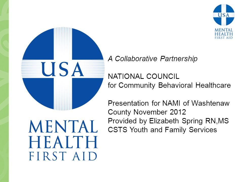 A Collaborative Partnership NATIONAL COUNCIL for Community Behavioral Healthcare Presentation for NAMI of Washtenaw County November 2012 Provided by Elizabeth Spring RN,MS CSTS Youth and Family Services