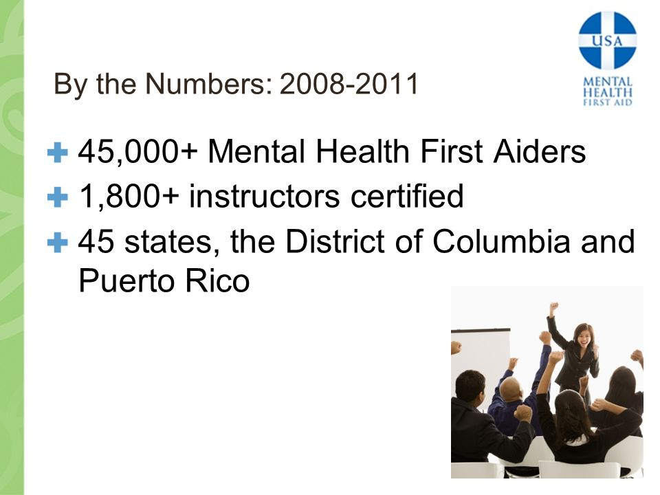 By the Numbers: 2008-2011  45,000+ Mental Health First Aiders  1,800+ instructors certified  45 states, the District of Columbia and Puerto Rico