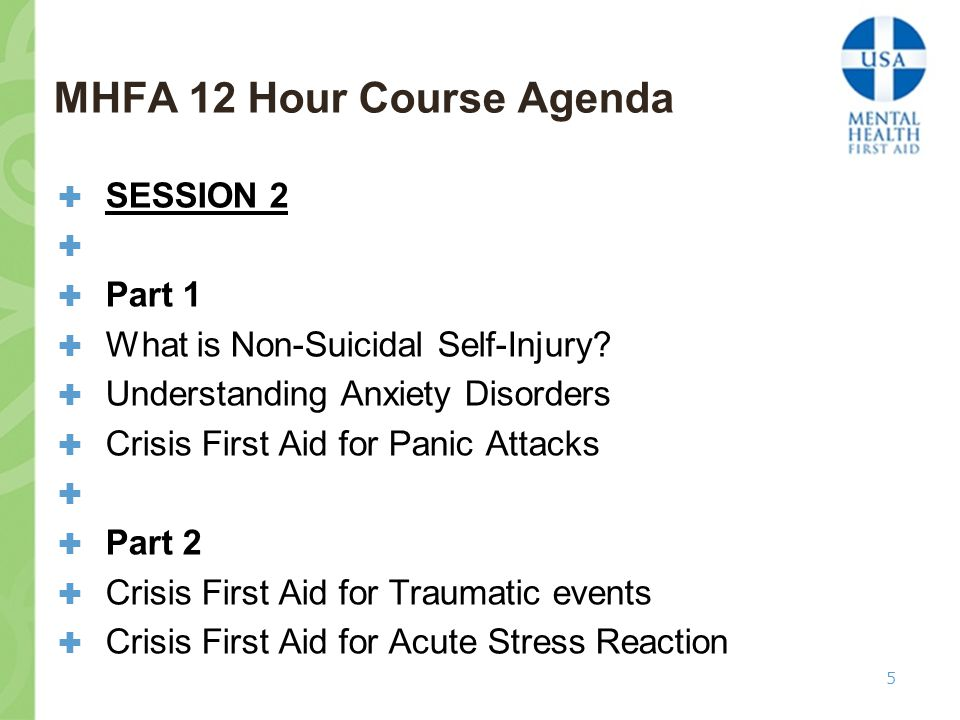 MHFA 12 Hour Course Agenda  SESSION 2   Part 1  What is Non-Suicidal Self-Injury.