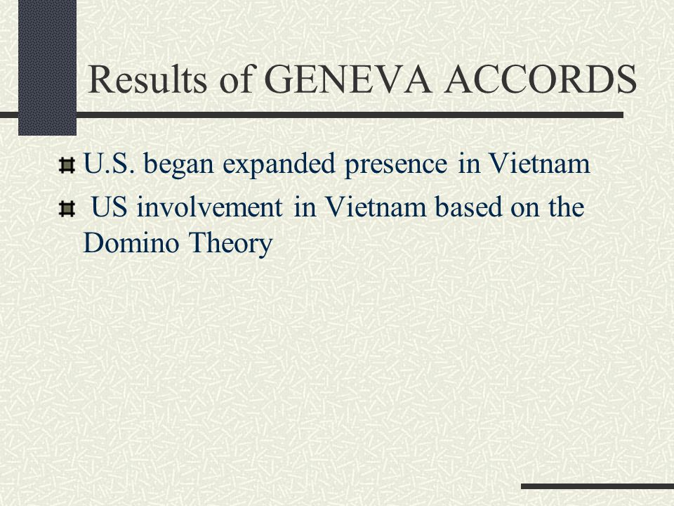 Results of GENEVA ACCORDS U.S. began expanded presence in Vietnam US involvement in Vietnam based on the Domino Theory