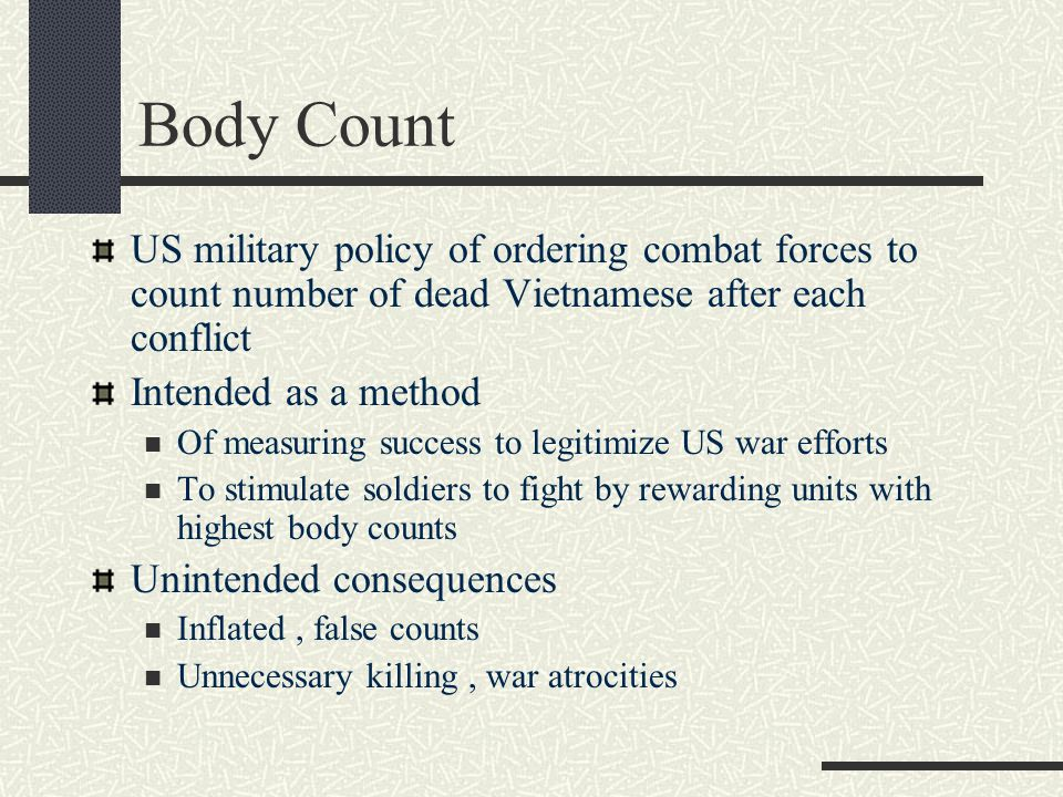 US military policy of ordering combat forces to count number of dead Vietnamese after each conflict Intended as a method Of measuring success to legit