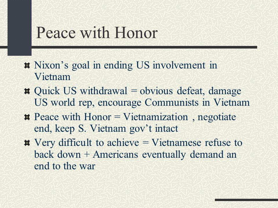 Nixon's goal in ending US involvement in Vietnam Quick US withdrawal = obvious defeat, damage US world rep, encourage Communists in Vietnam Peace with