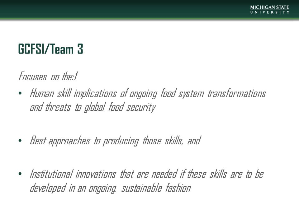 GCFSI/Team 3 Focuses on the:1 Human skill implications of ongoing food system transformations and threats to global food security Best approaches to producing those skills, and Institutional innovations that are needed if these skills are to be developed in an ongoing, sustainable fashion