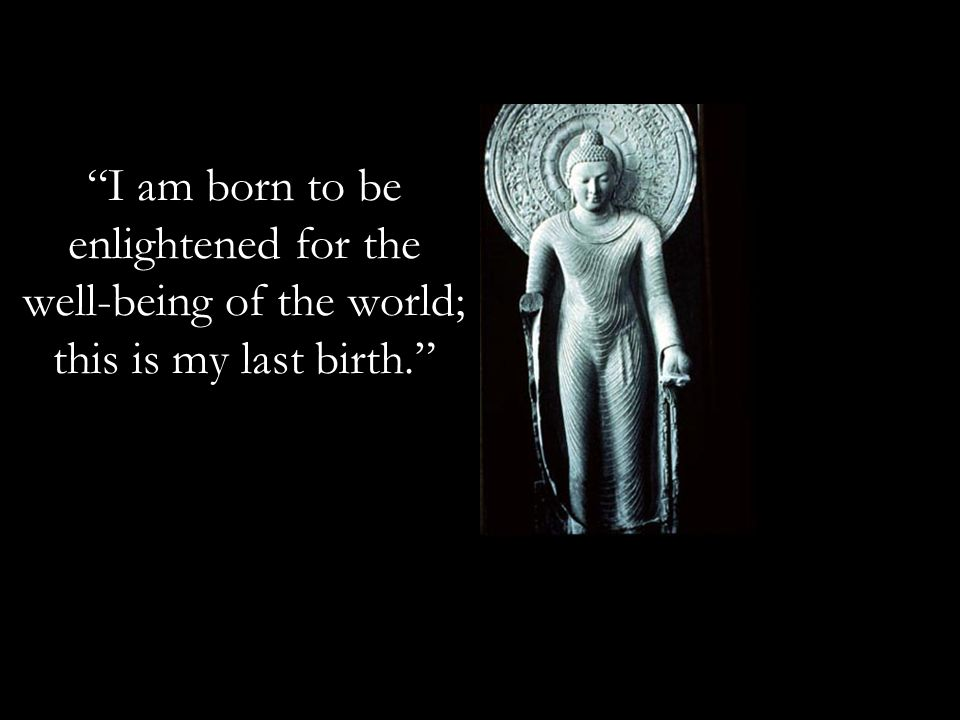 I am born to be enlightened for the well-being of the world; this is my last birth.