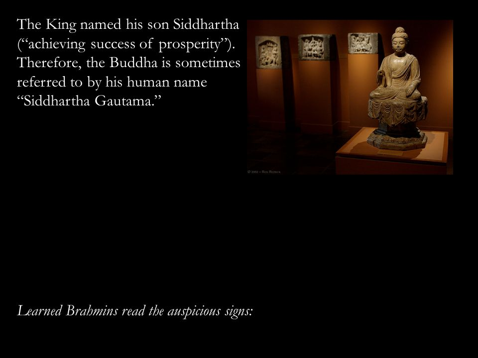 The King named his son Siddhartha ( achieving success of prosperity ).