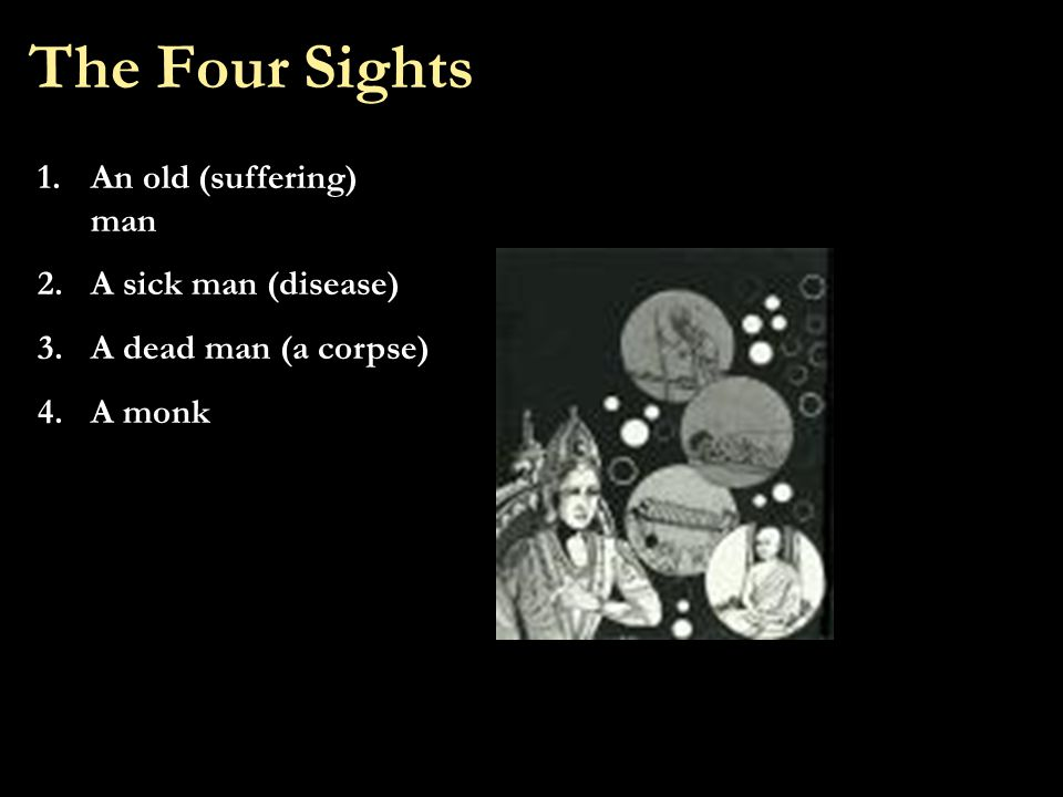 The Four Sights 1.An old (suffering) man 2.A sick man (disease) 3.A dead man (a corpse) 4.A monk