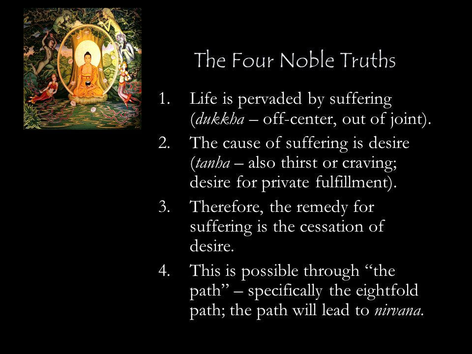 The Four Noble Truths 1.Life is pervaded by suffering (dukkha – off-center, out of joint). 2.The cause of suffering is desire (tanha – also thirst or