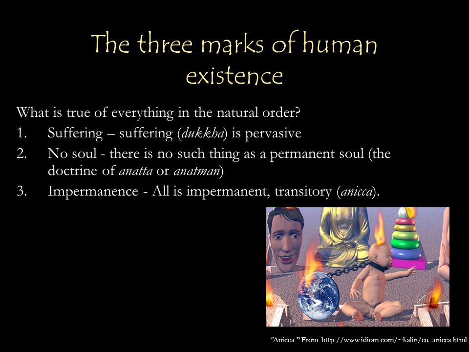 The three marks of human existence What is true of everything in the natural order? 1.Suffering – suffering (dukkha) is pervasive 2.No soul - there is