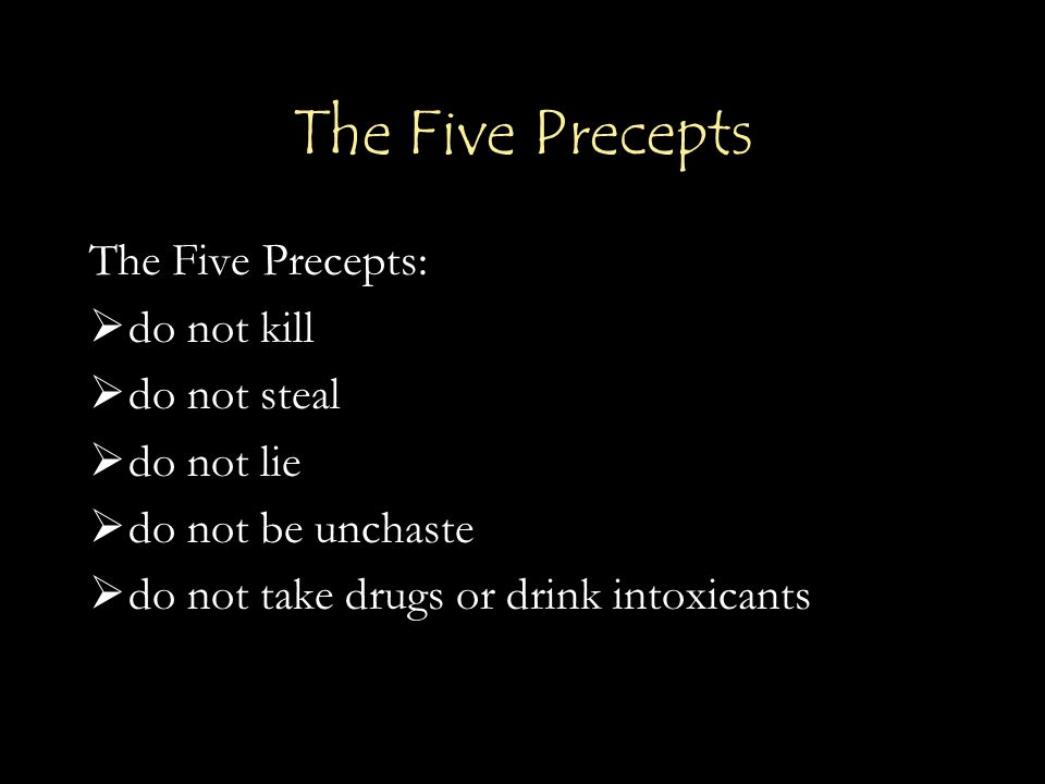 The Five Precepts The Five Precepts:  do not kill  do not steal  do not lie  do not be unchaste  do not take drugs or drink intoxicants