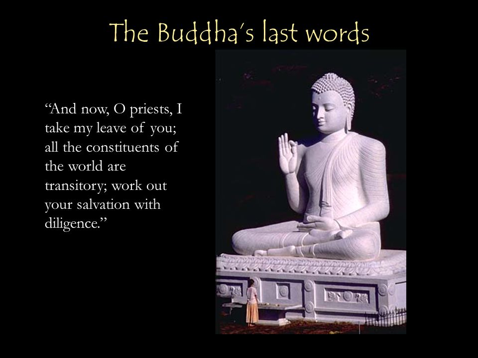 """""""And now, O priests, I take my leave of you; all the constituents of the world are transitory; work out your salvation with diligence."""" The Buddha's l"""