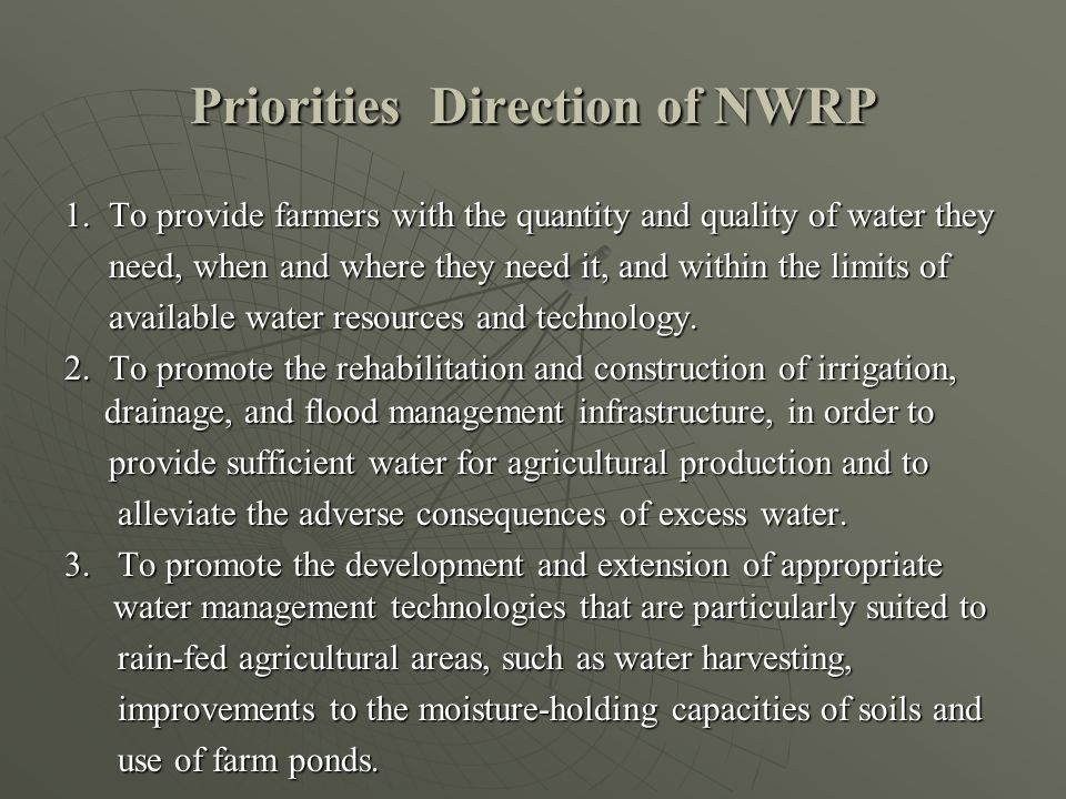 Priorities Direction of NWRP 1.