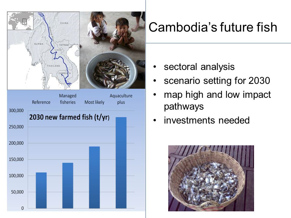 Cambodia's future fish sectoral analysis scenario setting for 2030 map high and low impact pathways investments needed