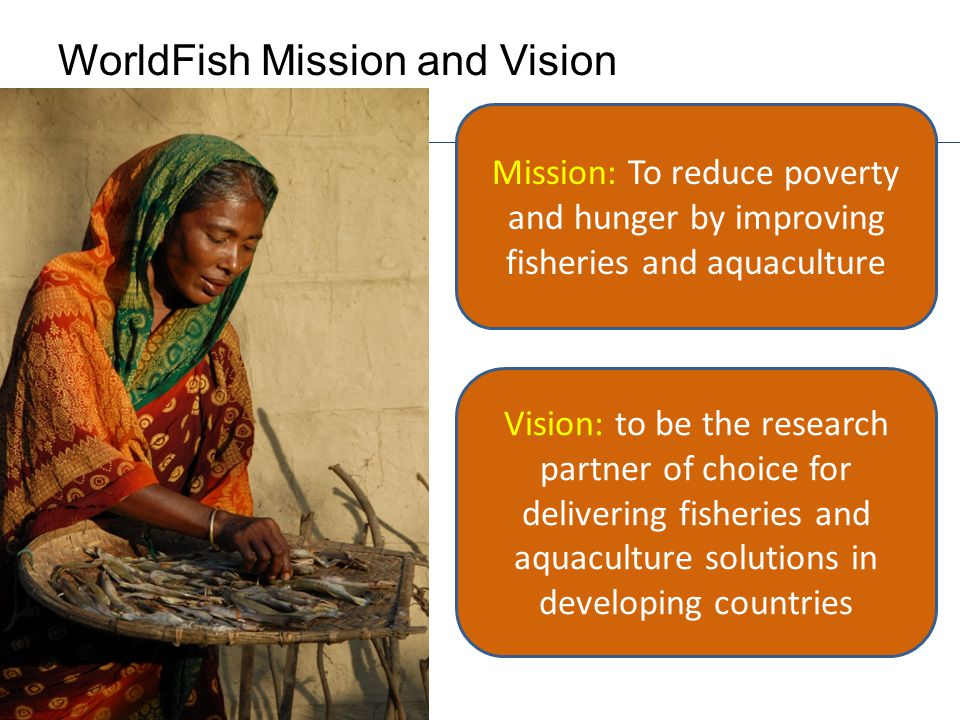 WorldFish Mission and Vision Mission: To reduce poverty and hunger by improving fisheries and aquaculture Vision: to be the research partner of choice for delivering fisheries and aquaculture solutions in developing countries
