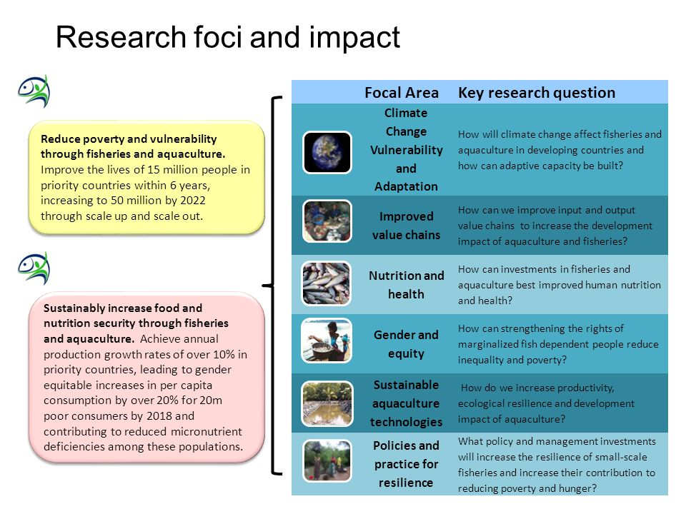 4 Research foci and impact Sustainably increase food and nutrition security through fisheries and aquaculture. Achieve annual production growth rates