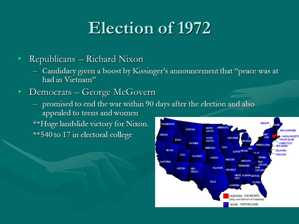 Election of 1972 Republicans – Richard NixonRepublicans – Richard Nixon –Candidacy given a boost by Kissinger's announcement that peace was at had in Vietnam Democrats – George McGovernDemocrats – George McGovern –promised to end the war within 90 days after the election and also appealed to teens and women **Huge landslide victory for Nixon.