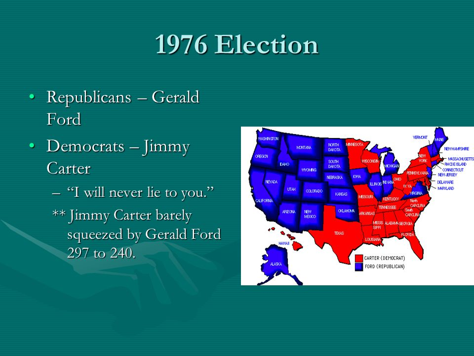 1976 Election Republicans – Gerald FordRepublicans – Gerald Ford Democrats – Jimmy CarterDemocrats – Jimmy Carter – I will never lie to you. ** Jimmy Carter barely squeezed by Gerald Ford 297 to 240.