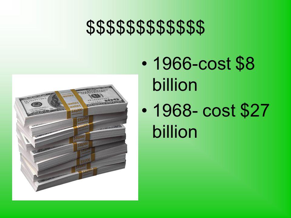 $$$$$$$$$$$$ 1966-cost $8 billion 1968- cost $27 billion