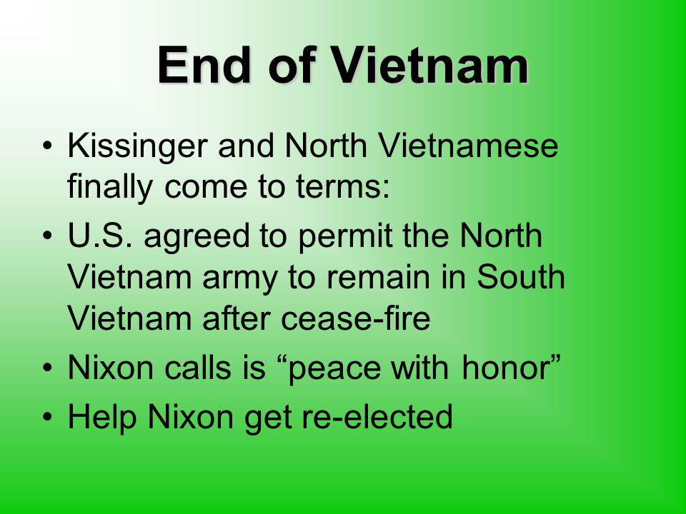 End of Vietnam Kissinger and North Vietnamese finally come to terms: U.S.