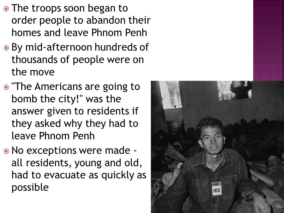  In order to create the ideal communist society, all people would have to live and work in the countryside as peasants  Peasants, in fact, were the Khmer Rouge communist ideal  Peasants were seen as simple, uneducated, hard- working and not prone to exploiting others  It was this perception that caused the Khmer Rouge to view peasants - old people, to use their political jargon - as the ideal communists for the new Cambodian state