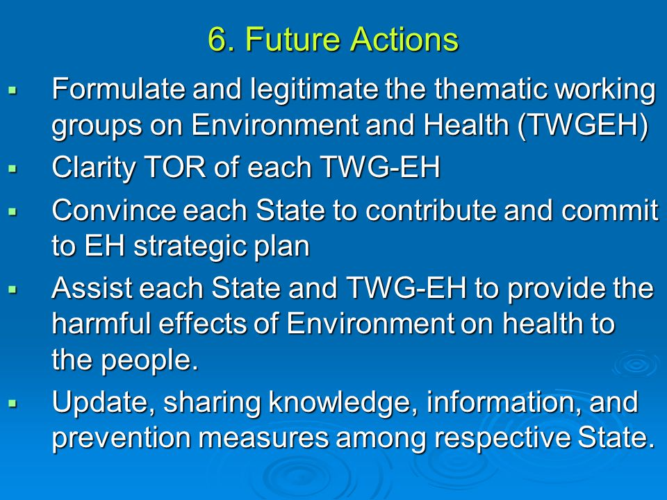 6. Future Actions  Formulate and legitimate the thematic working groups on Environment and Health (TWGEH)  Clarity TOR of each TWG-EH  Convince eac