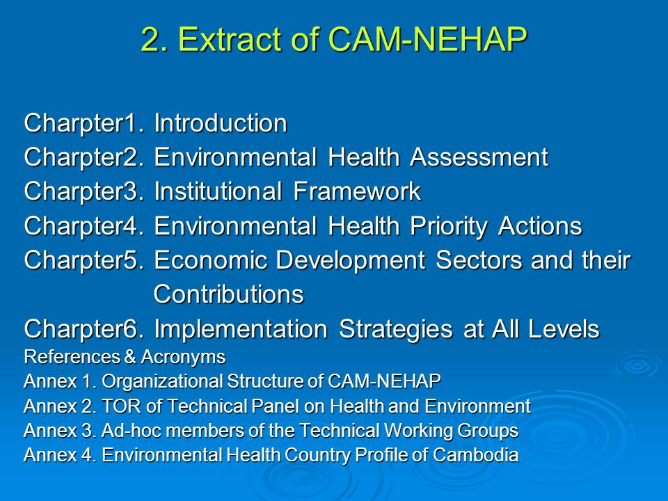 2.Extract of CAM-NEHAP Charpter1. Introduction Charpter2.