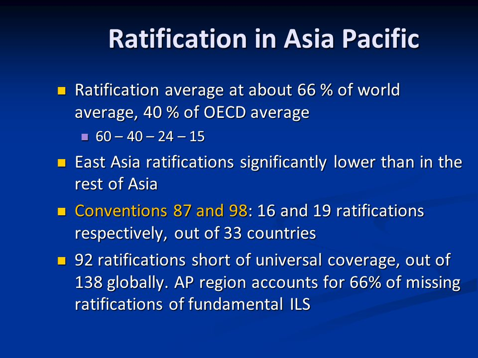 Ratification in Asia Pacific Ratification average at about 66 % of world average, 40 % of OECD average Ratification average at about 66 % of world average, 40 % of OECD average 60 – 40 – 24 – 15 60 – 40 – 24 – 15 East Asia ratifications significantly lower than in the rest of Asia East Asia ratifications significantly lower than in the rest of Asia Conventions 87 and 98: 16 and 19 ratifications respectively, out of 33 countries Conventions 87 and 98: 16 and 19 ratifications respectively, out of 33 countries 92 ratifications short of universal coverage, out of 138 globally.