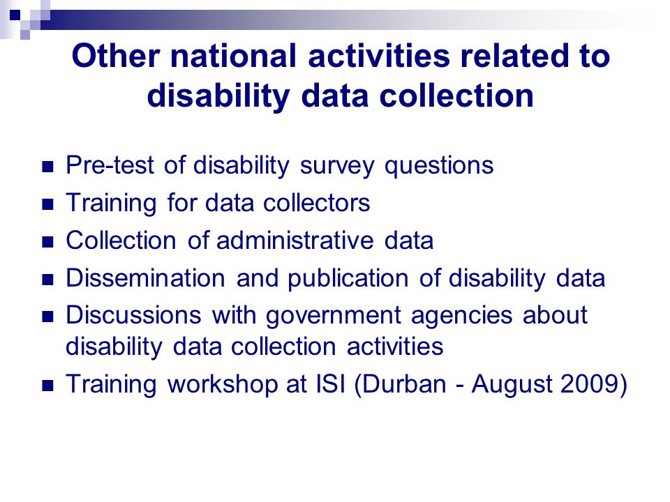 Other national activities related to disability data collection Pre-test of disability survey questions Training for data collectors Collection of administrative data Dissemination and publication of disability data Discussions with government agencies about disability data collection activities Training workshop at ISI (Durban - August 2009)