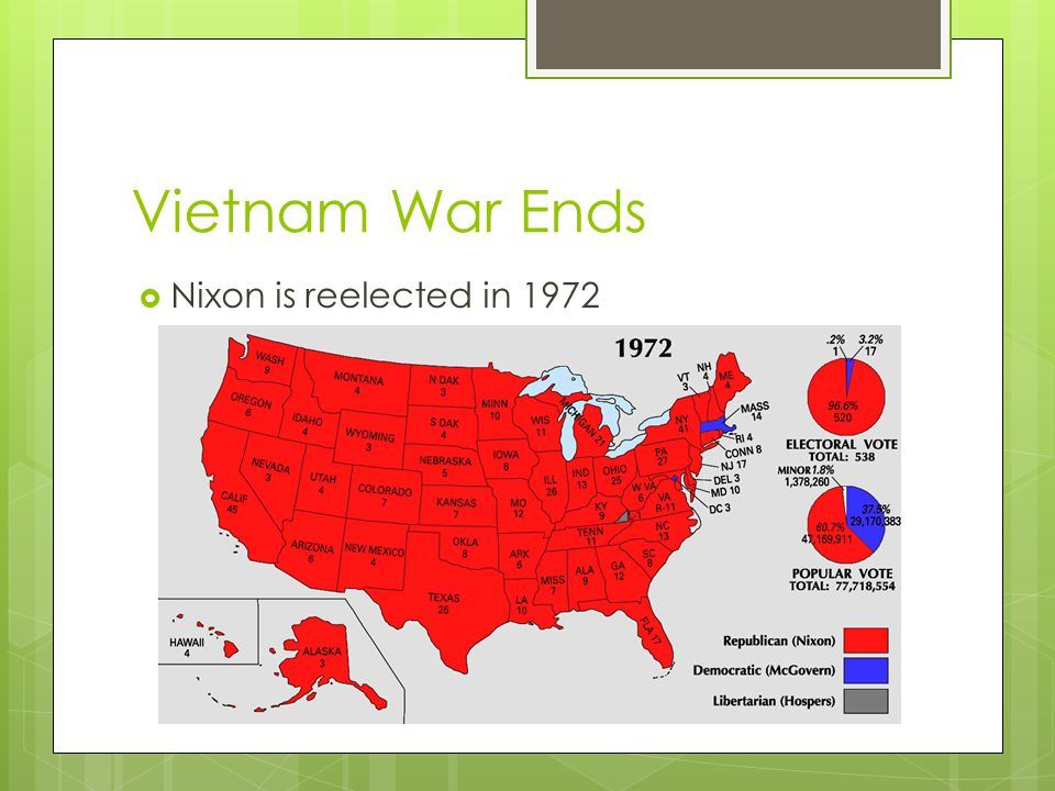 Vietnam War Ends  Nixon is reelected in 1972