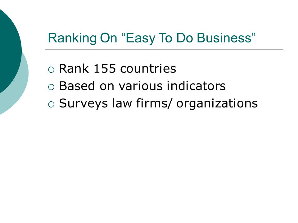 Ranking On Easy To Do Business  Rank 155 countries  Based on various indicators  Surveys law firms/ organizations