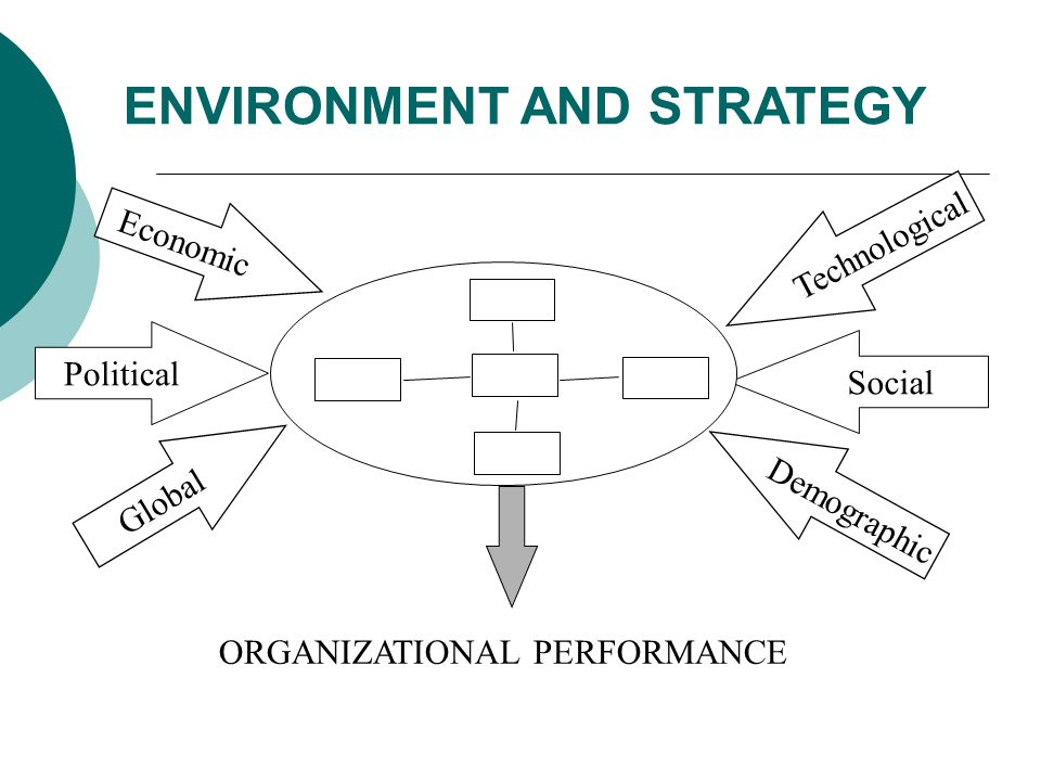 ENVIRONMENT AND STRATEGY Economic Political Technological Social ORGANIZATIONAL PERFORMANCE Global Demographic