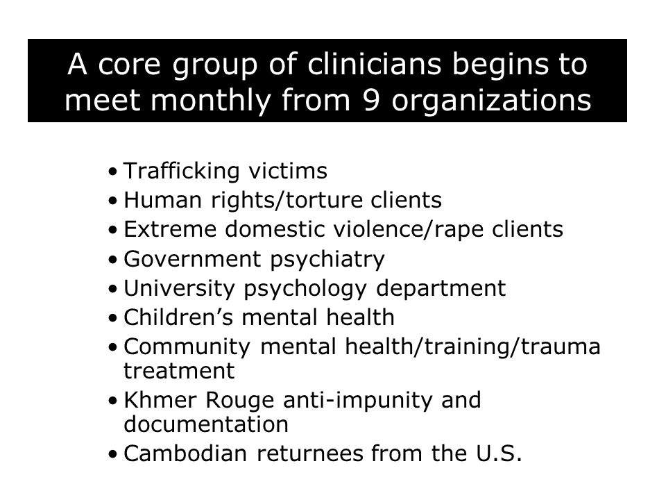 A core group of clinicians begins to meet monthly from 9 organizations Trafficking victims Human rights/torture clients Extreme domestic violence/rape clients Government psychiatry University psychology department Children's mental health Community mental health/training/trauma treatment Khmer Rouge anti-impunity and documentation Cambodian returnees from the U.S.