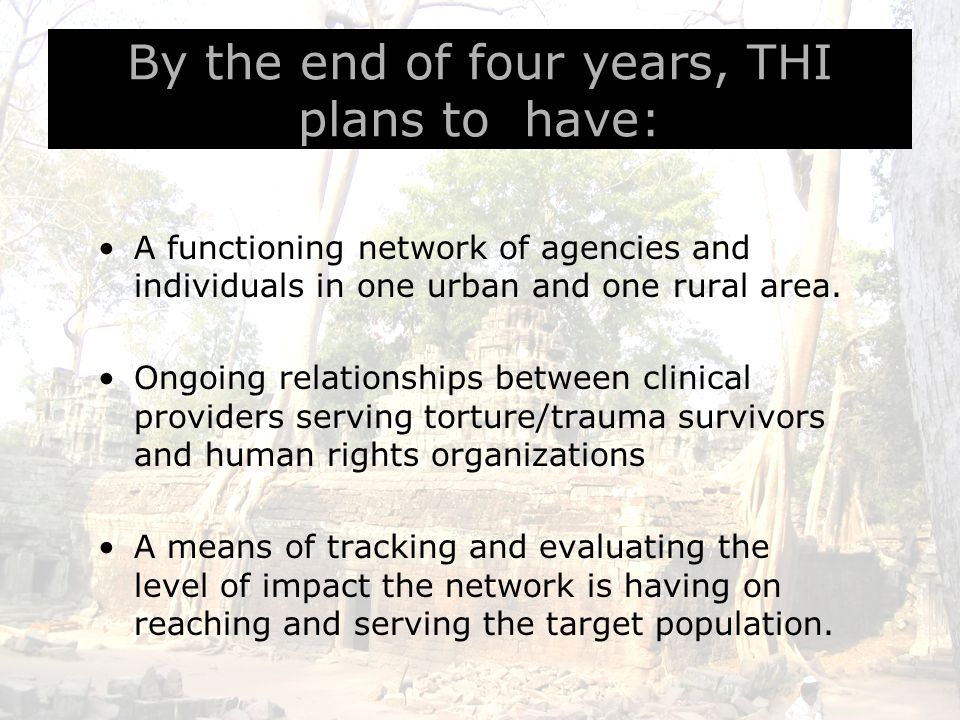 By the end of four years, THI plans to have: A functioning network of agencies and individuals in one urban and one rural area. Ongoing relationships