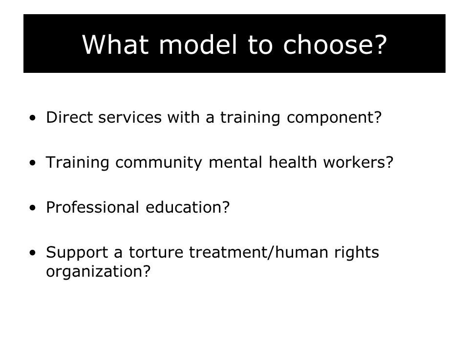 What model to choose? Direct services with a training component? Training community mental health workers? Professional education? Support a torture t