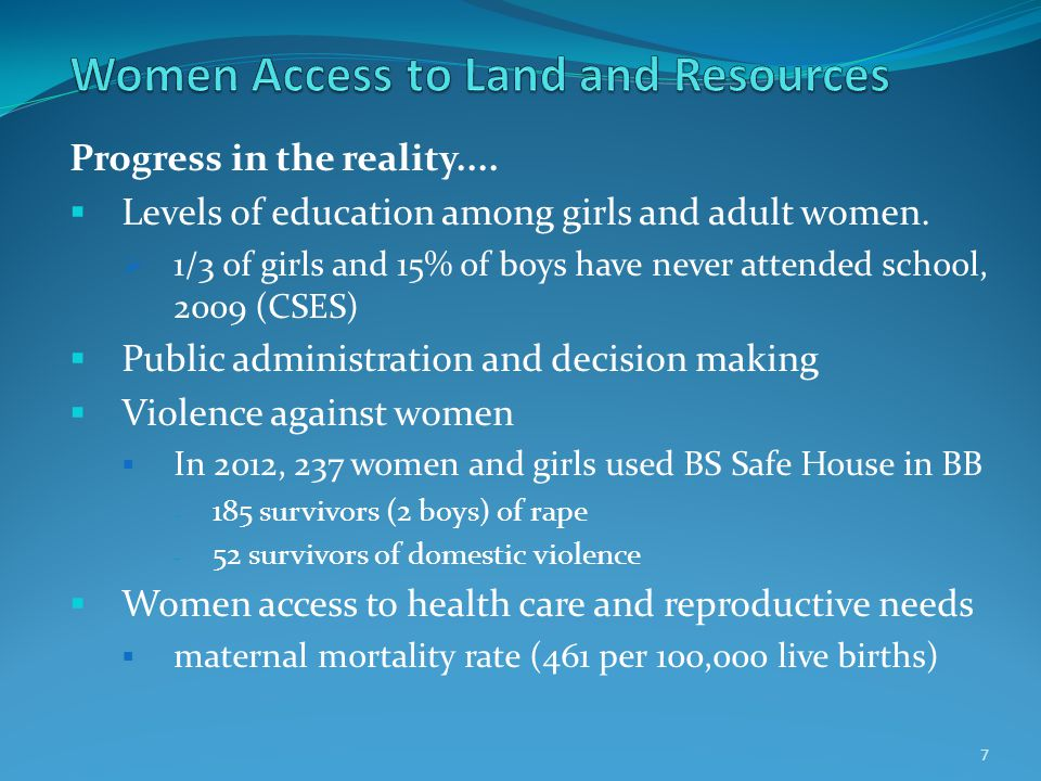 Progress in the reality....  Levels of education among girls and adult women.  1/3 of girls and 15% of boys have never attended school, 2009 (CSES)