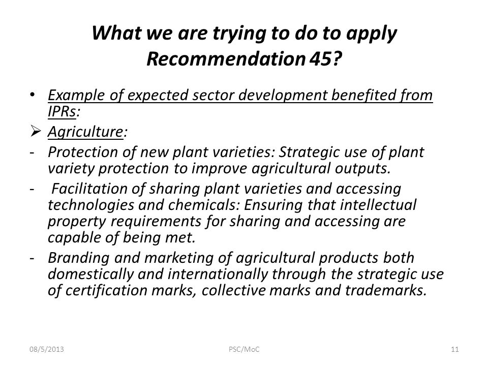 What we are trying to do to apply Recommendation 45.