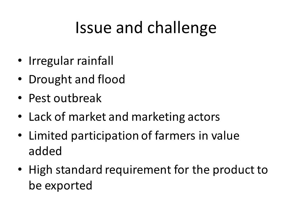 Issue and challenge Irregular rainfall Drought and flood Pest outbreak Lack of market and marketing actors Limited participation of farmers in value added High standard requirement for the product to be exported