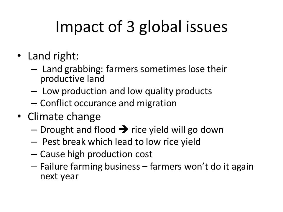 Impact of 3 global issues Land right: – Land grabbing: farmers sometimes lose their productive land – Low production and low quality products – Conflict occurance and migration Climate change – Drought and flood  rice yield will go down – Pest break which lead to low rice yield – Cause high production cost – Failure farming business – farmers won't do it again next year